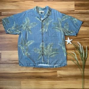 Tommy Bahama Men's Palm Tree Button Up Silk Shirt